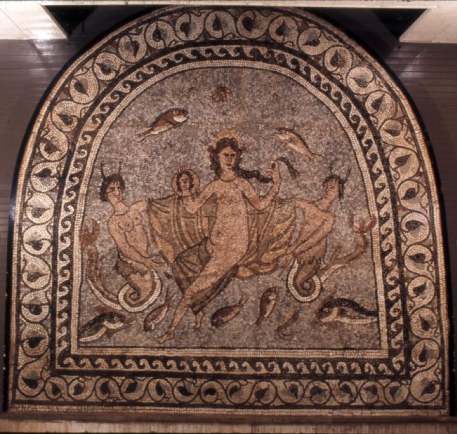 Vénus Orient : Mosaïque de la maison de Charidémos à Halicarnasse : Vénus marine, Londres, British Museum, inv. n°1857, 1220.442.