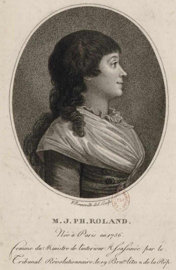 Bonneville / François / 17..-18.. / graveur / 0410. Portrait de Madame J. Ph. Roland, en buste, de profil dirigé à droite dans une bordure ovale / [estampe]. Gallica.fr