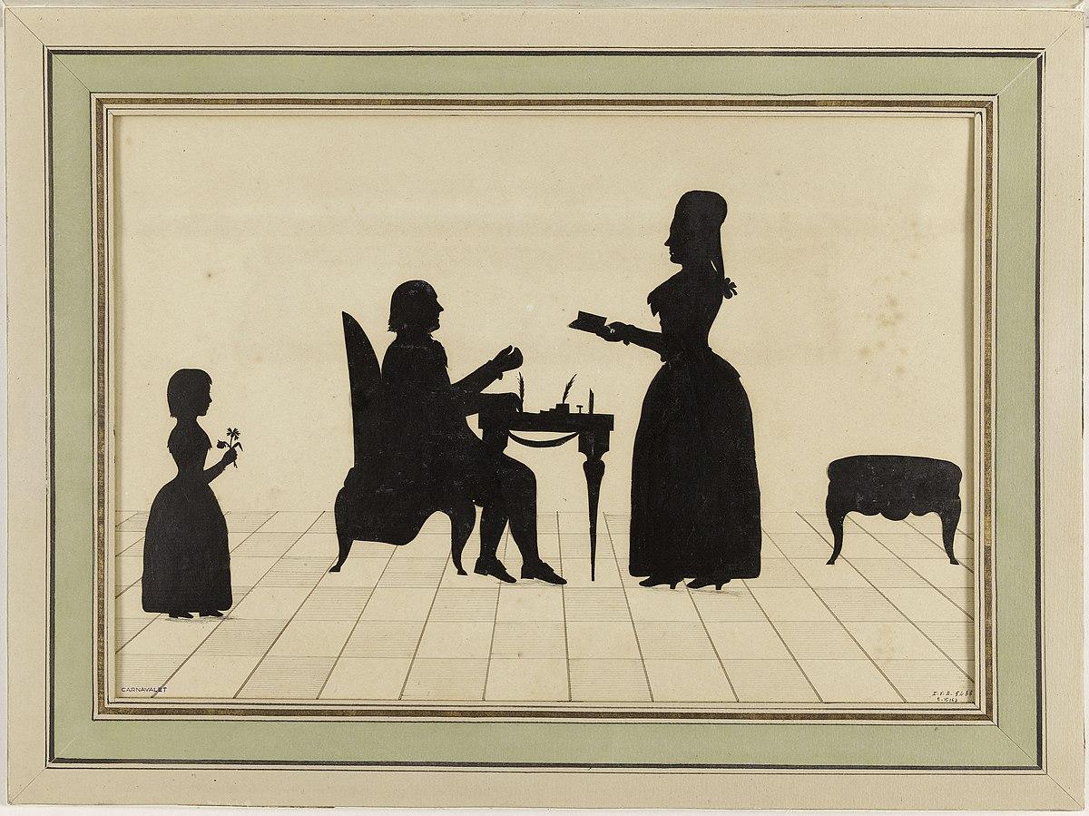 3 : Silhouettes de la famille Roland, par Lavater à Zurich, vers 1792, Paris, musée Carnavalet. (page de garde de l'ouvrage Siân Reynolds))