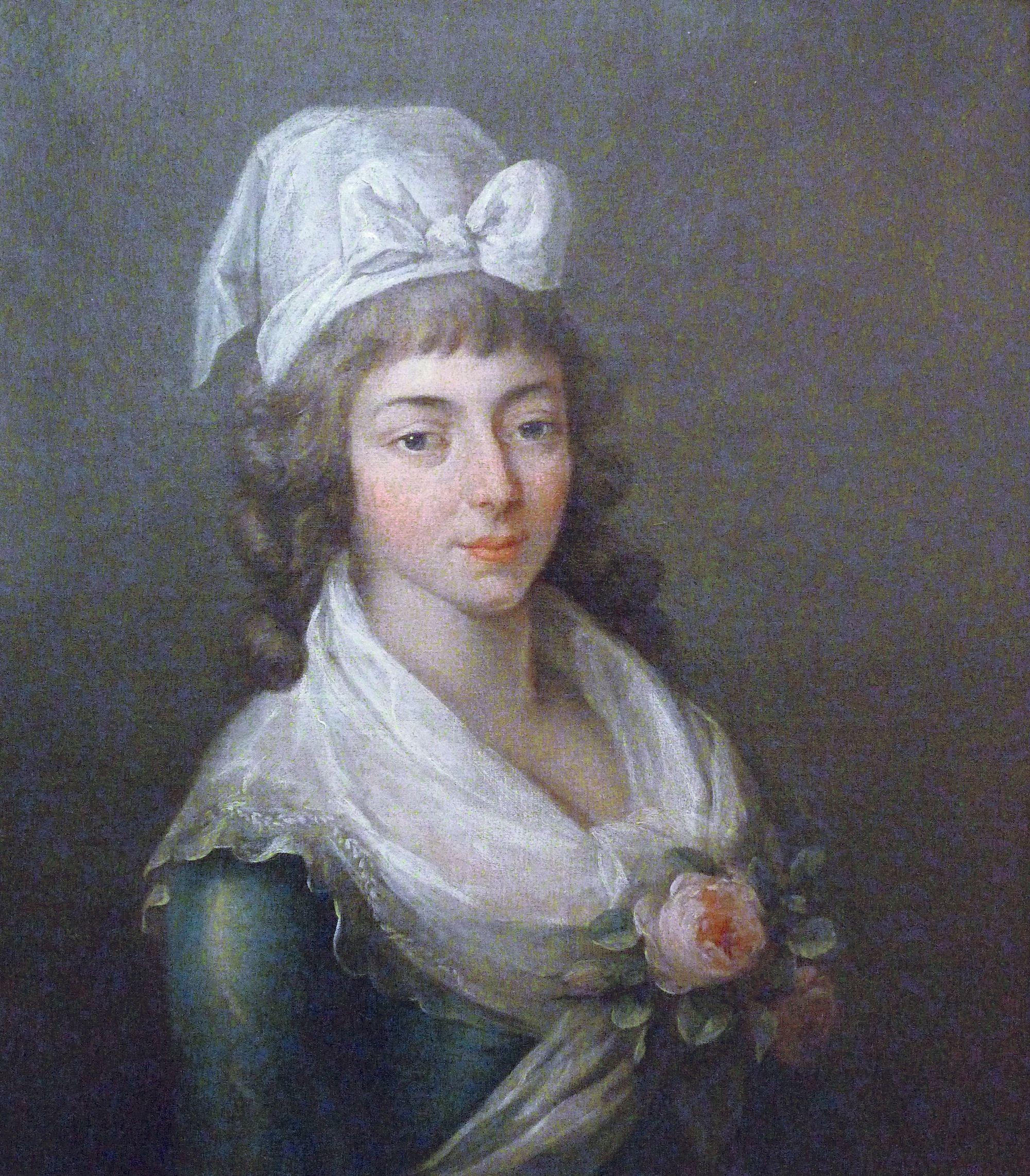 Anonyme, Portrait de Manon Roland, v. 1790, huile sur toile, musée Lambinet, Versailles.