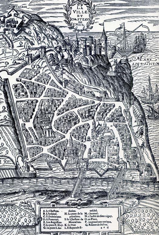 Vue de Nice dans la Cosmographie universelle de François de Belleforest (1575)