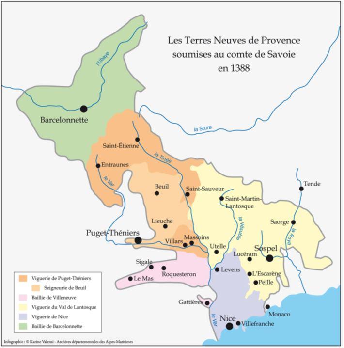 La Provence orientale conquise par le comte de Savoie entre 1385 et 1388, carte extraite du catalogue Nice et la Maison Royale de Savoie, 2010.