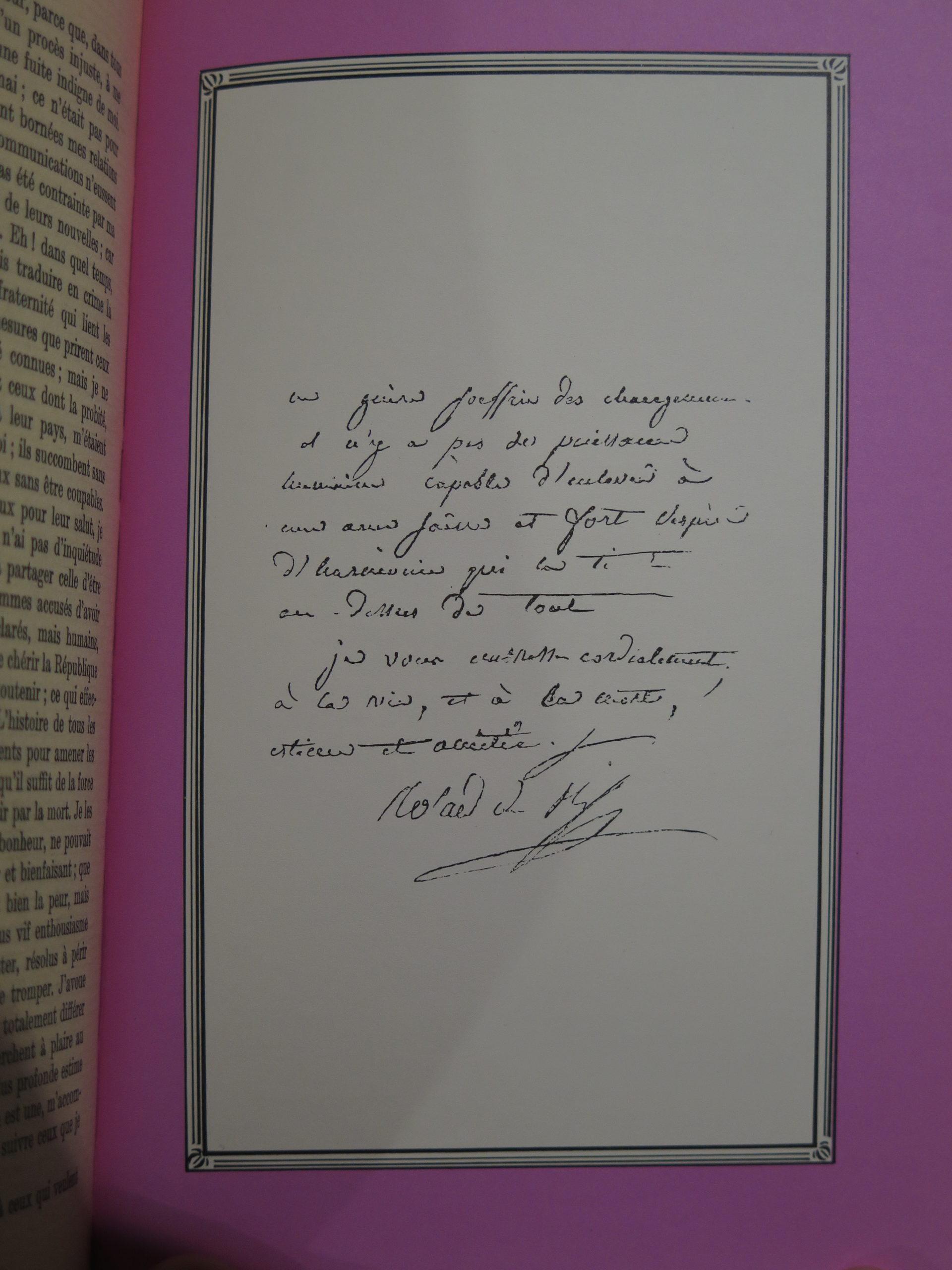 Extrait manuscrit d'une lettre de Madame Roland