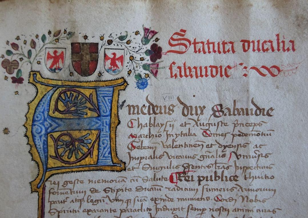 """Recueil niçois contenant les """"Statuts ducaux de Savoie"""" (Cote : AM Nice, AA 9, fol. 15)"""