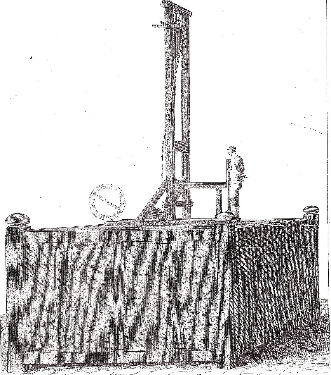 Gravure de la guillotine en 1792, Arch. dép. du Maine-et-Loire, 1L946-1.