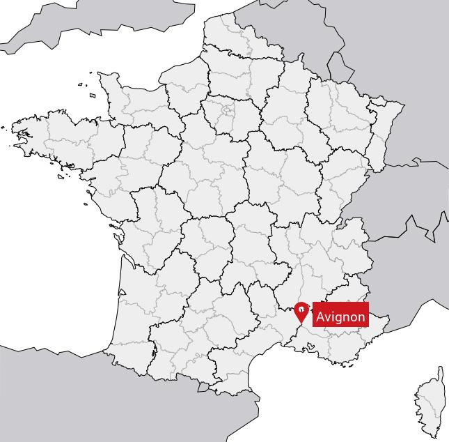 Localisation de Avignon sur la carte de France