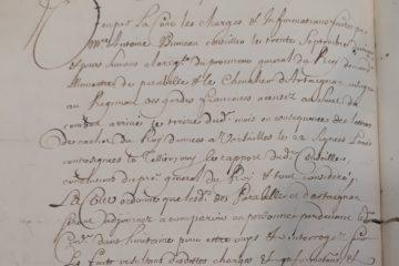 8B2 763 fol.151v : C'est la demande d'arrestation de Louis de Castelore, chevalier d'Artagnan, fils du célèbre d'Artagnan, pour duel.