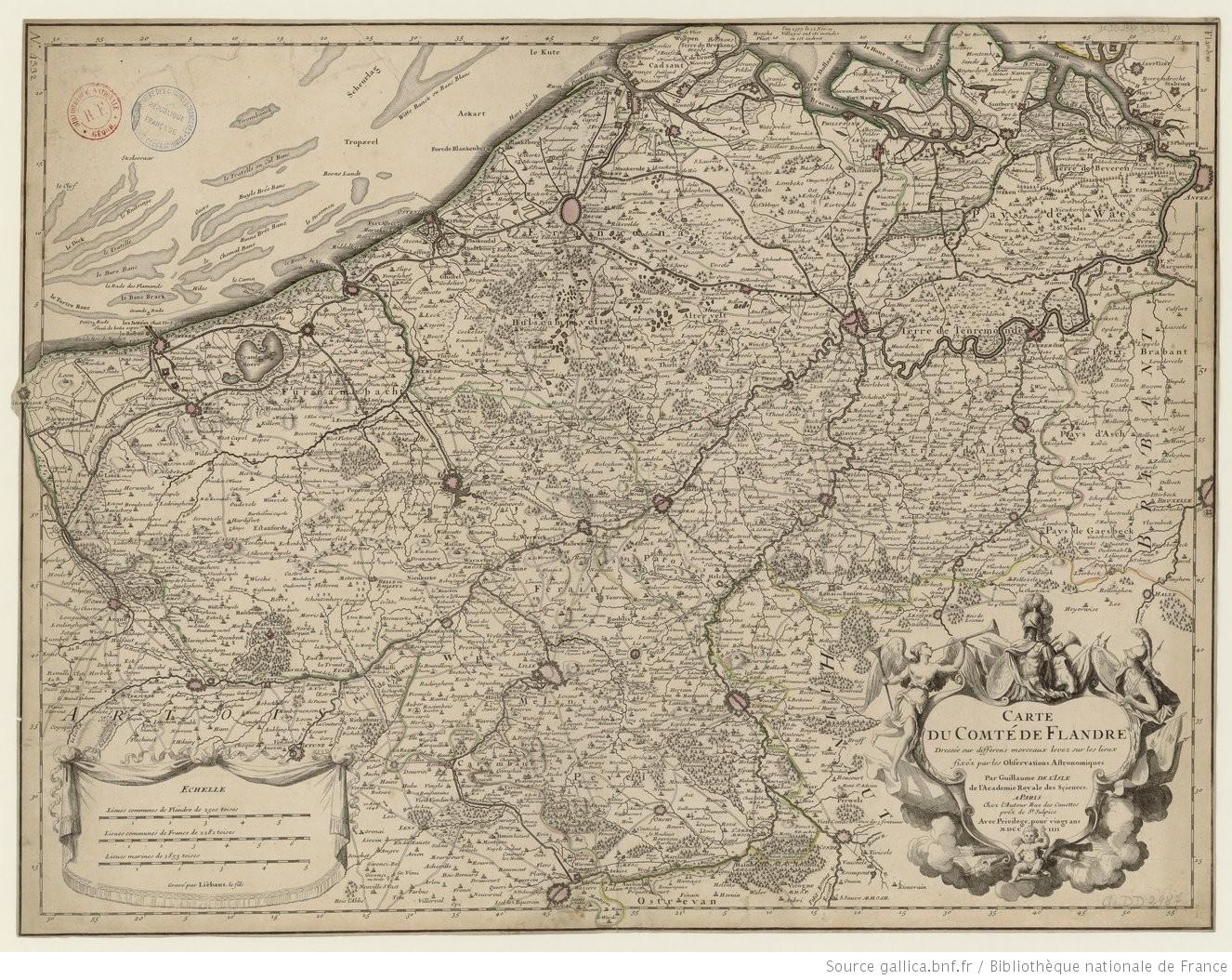 carte de la Flandre étendue